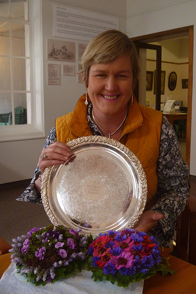 Carolyn with her prizewinning heritage flowers