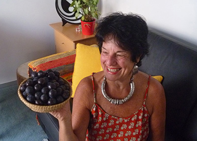 Helen Ritchie with harvest of damson plums from Halfway House orchard