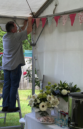 Preparing the marquee