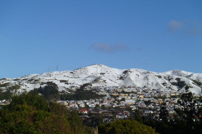 Snow on Ohariu ridgeline
